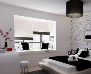 黑白色调混搭简约风格卧室飘窗装修效果图