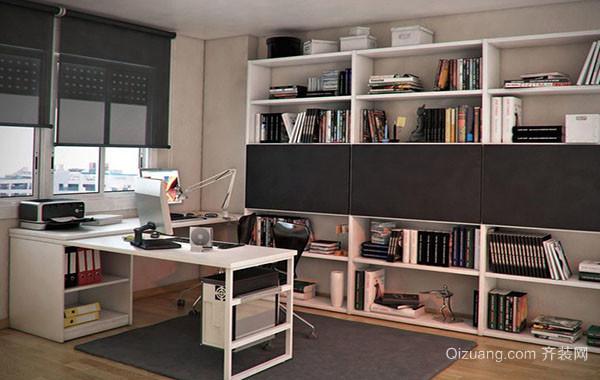 2016年现代简约风格大户型大书房装修效果图