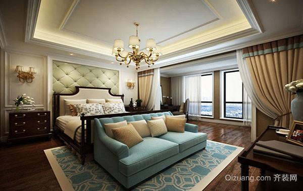 120平米简欧风格简约时尚卧室背景装修效果图大全