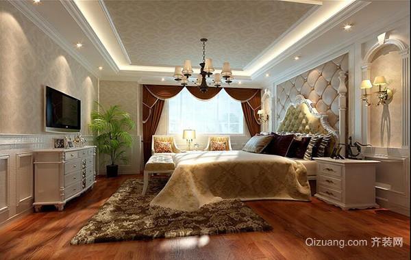 别墅型简欧风格卧室背景墙装修效果图实例