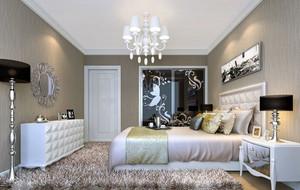 现代风格都市简约时尚三居室卧室背景墙装修效果图