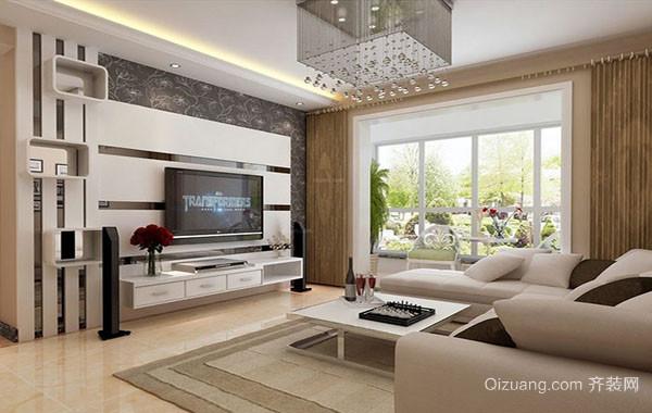 2016年现代简约风格大户型客厅电视背景墙装修效果图