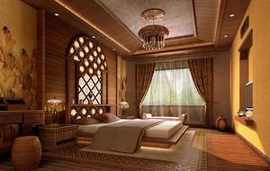 东南亚风格精致自然舒适卧室吊顶装修效果图