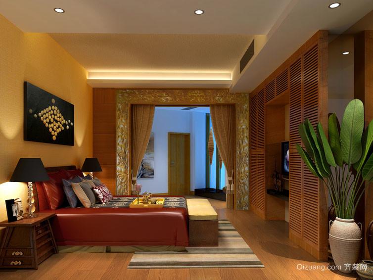 充满民族特色东南亚风格卧室背景墙纸装修效果图