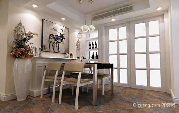别墅型简欧风格餐厅背景墙装修效果图实例