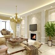 别墅型欧式客厅设计装修效果图实例