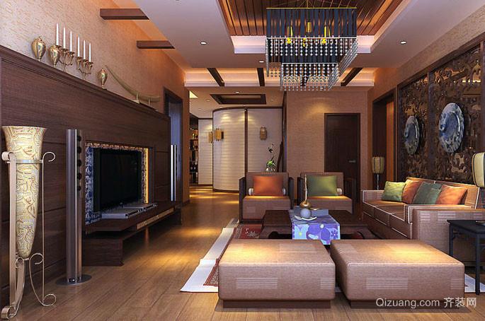 现代中式精致别墅型客厅电视背景墙装修效果图