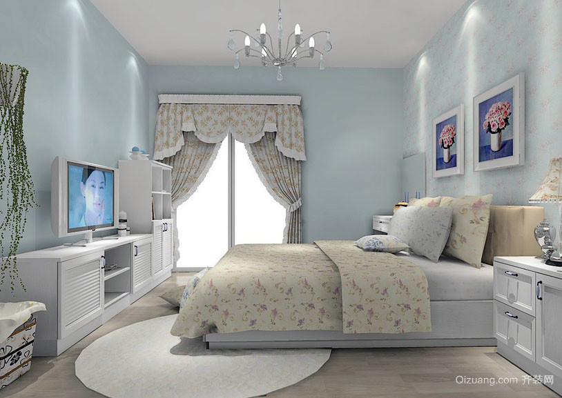 都市小清新简约时尚小户型卧室装修效果图