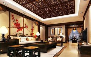 东南亚风格精致朴素室内客厅吊顶装修效果图