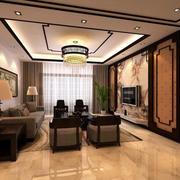 简约东南亚风格客厅吊顶