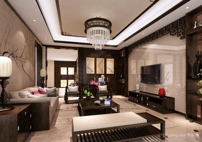 现代中式风格室内客厅电视背景墙装修效果图