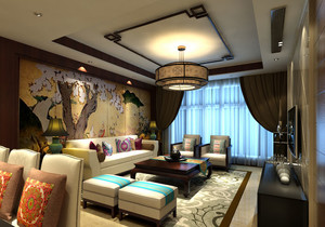 现代中式风格精致客厅吊顶装修效果图大全