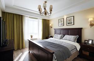 现代美式风格简约温馨大户型卧室装修效果图