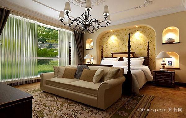 美式田园风格自然温馨卧室背景墙装修效果图实例