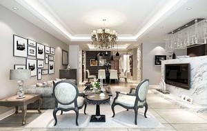 120平米现代简约时尚室内客厅照片墙装修效果图