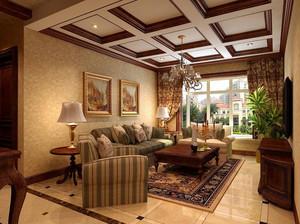 美式田园风格自然温馨时尚客厅装修效果图