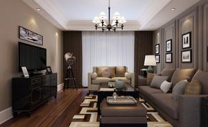 90平米现代简约时尚灰色主调客厅装修效果图