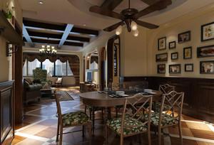 110平米美式田园风格精致客厅餐厅装修效果图