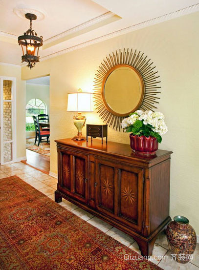 别墅型美式风格精致进门玄关鞋柜设计装修效果图