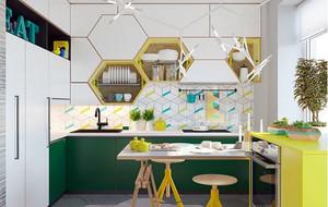 10平米简约风格时尚创意厨房装修效果图赏析