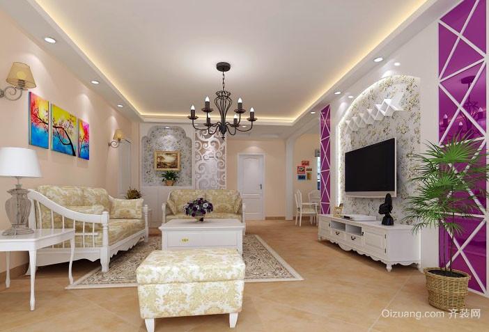 简欧风格简约时尚混搭大户型客厅装修效果图