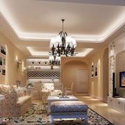 120平米欧式田园风格简约时尚客厅装修效果图