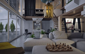 80平米现代简约风格灰色空间阁楼装修效果图赏析