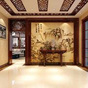 110平米三居室现代中式风格进门玄关装修效果图