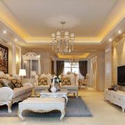 经典欧式风格时尚大户型精致客厅装修效果图