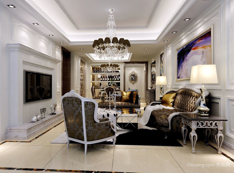 复古欧式风格精致别墅型客厅装修效果图