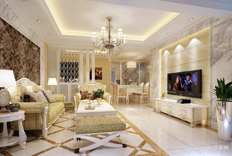 110平米简欧风格简约时尚温馨客厅装修效果图