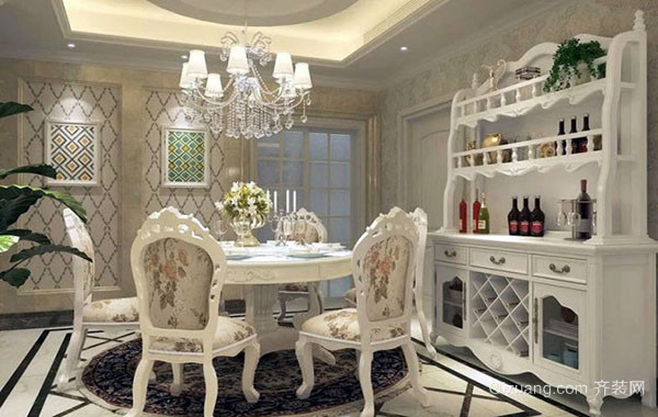 欧式风格别墅精致典雅室内餐厅装修效果图