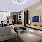 80平米现代简约时尚室内客厅装修效果图