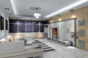 100平米都市风格简约时尚客厅电视背景墙装修效果图