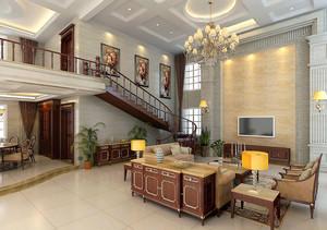 复式楼美式风格精致客厅装修效果图