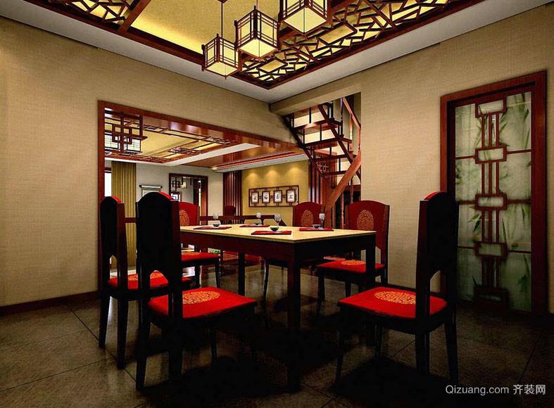 中式风格复式楼精致餐厅吊顶装修效果图