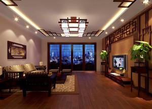 大户型中式客厅电视背景墙设计装修效果图