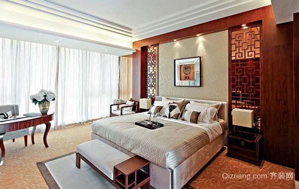 现代中式风格大户型精致室内卧室背景墙装修效果图