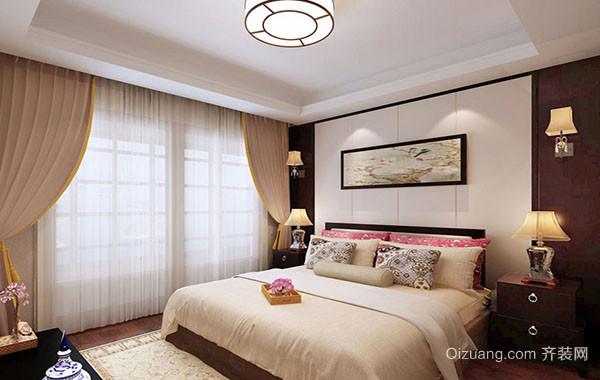 大户型现代简约中式风格精致卧室吊顶装修效果图