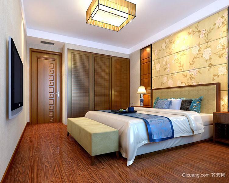 现代中式风格简约朴素卧室背景装修效果图