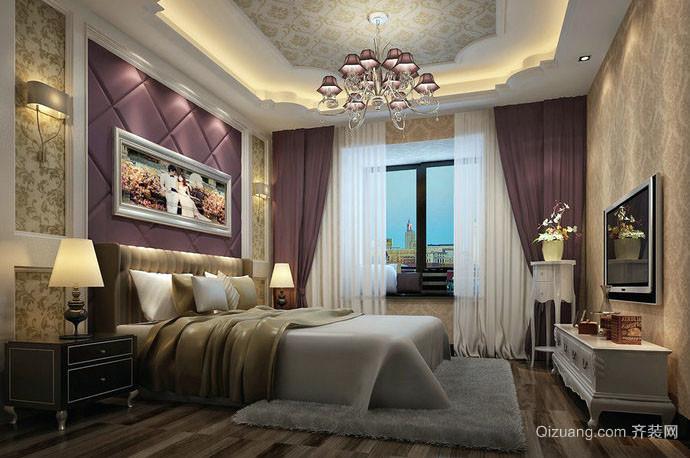 别墅型欧式古典精致典雅卧室背景墙装修效果图