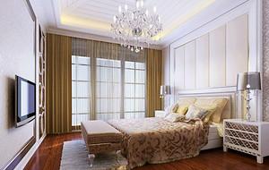 别墅型简欧风格简约精致典雅卧室背景墙装修效果图