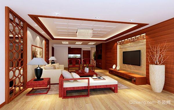 现代中式风格大户型精致室内客厅吊顶装修效果图