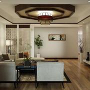 现代中式风格简约时尚客厅吊顶装修效果图