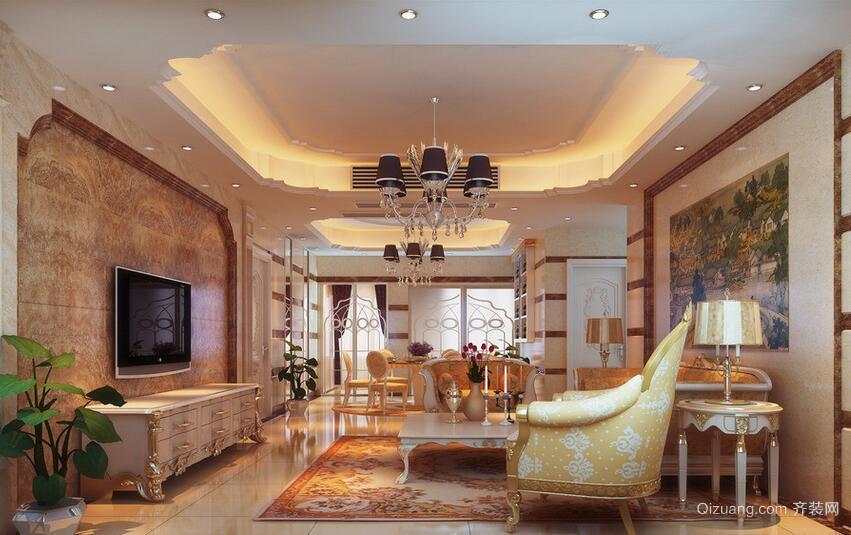 100平米欧式客厅室内设计装修效果图欣赏