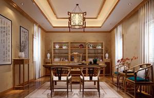 大户型新中式风格简约朴素书房装修效果图