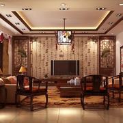 2016别墅型中式客厅室内装修效果图鉴赏