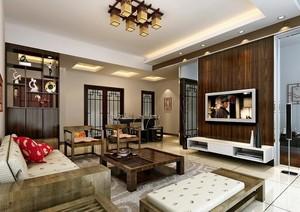 2016经典大户型中式客厅室内装修效果图实例
