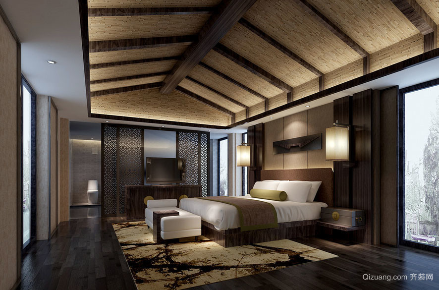 东南亚风格精致自然别墅卧室吊顶装修效果图