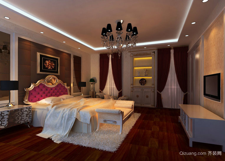 别墅型欧式风格复古精致典雅客厅装修效果图